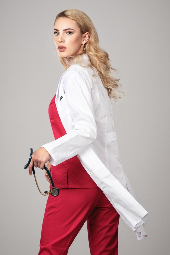 Blouse medicale _Col Manteau _ Blanche 3/4 Avant Gauche +