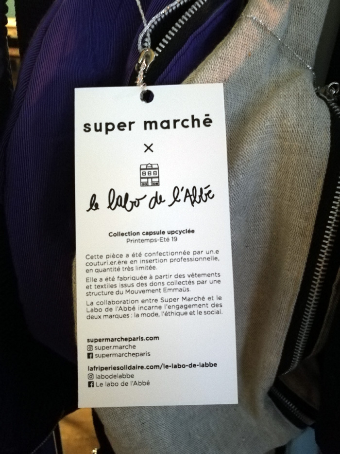 collaboration Super marche et le labo de l'Abbé - upcycling