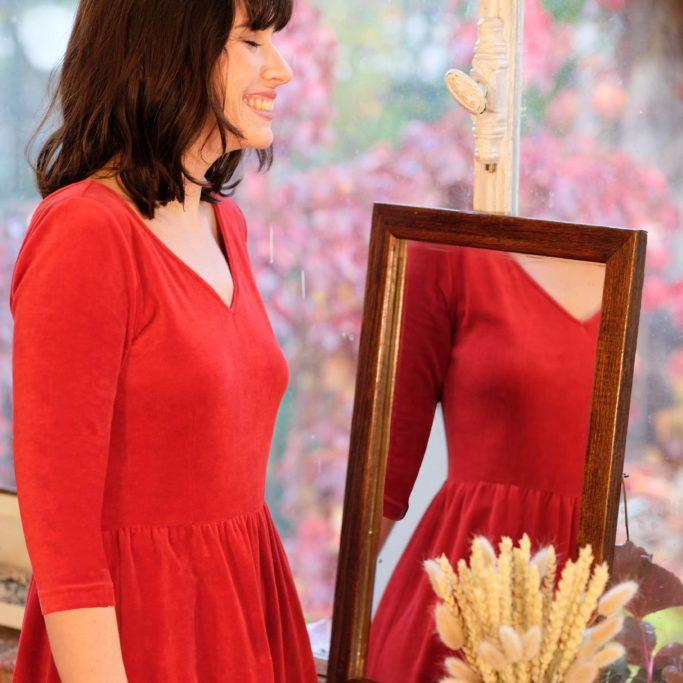 Atelier Unes - Robe d'Hiver Ecume - Rouge-32 manche3-4