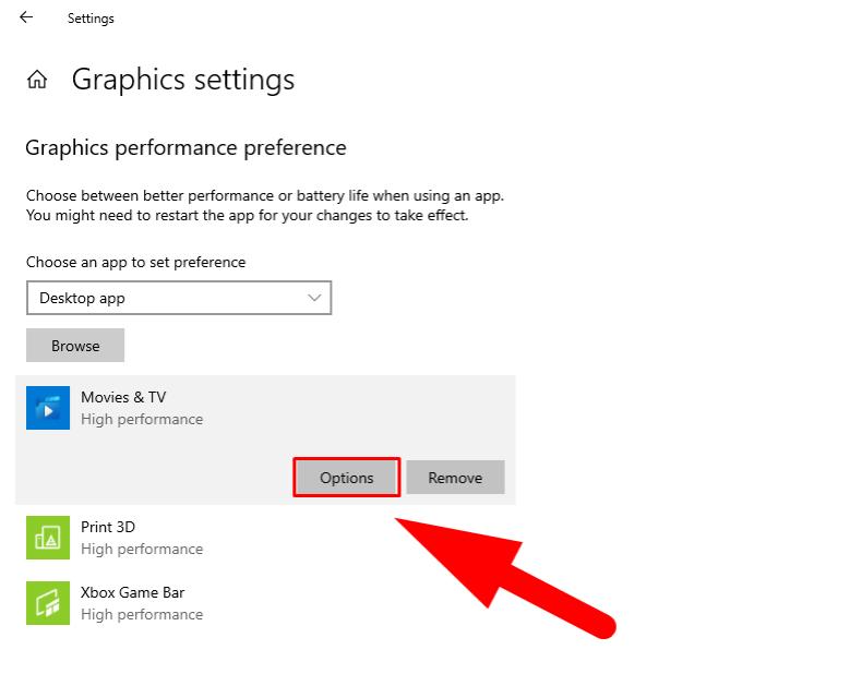 Windows 10 Graphics Performance settings