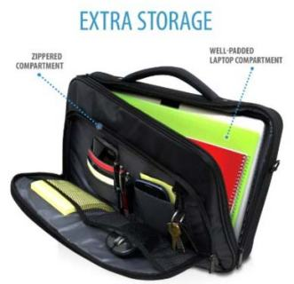 V7 Pro2 Frontload Shock and Water Resistant 17 inch Laptop Bag Organizer Compartment
