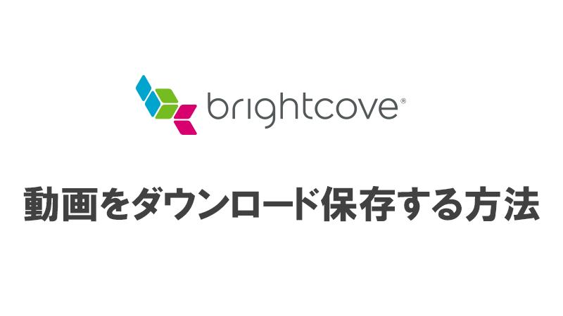 brightcove 動画 ダウンロード
