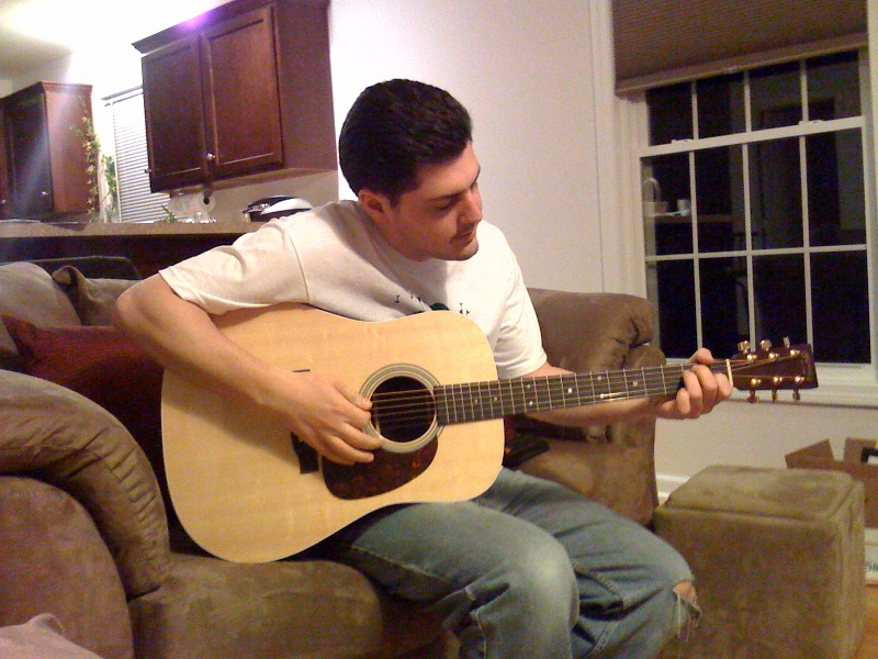 Jim Fusco playing his Martin MMV acoustic guitar on the laptop sessions acoustic cover songs music video blog