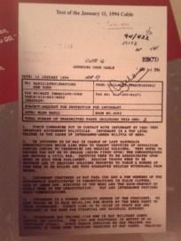 Comunicado que el General Dallaire mandó a sus superiores en Nueva York y que fue ignorado por los altos cargos de Naciones Unidas