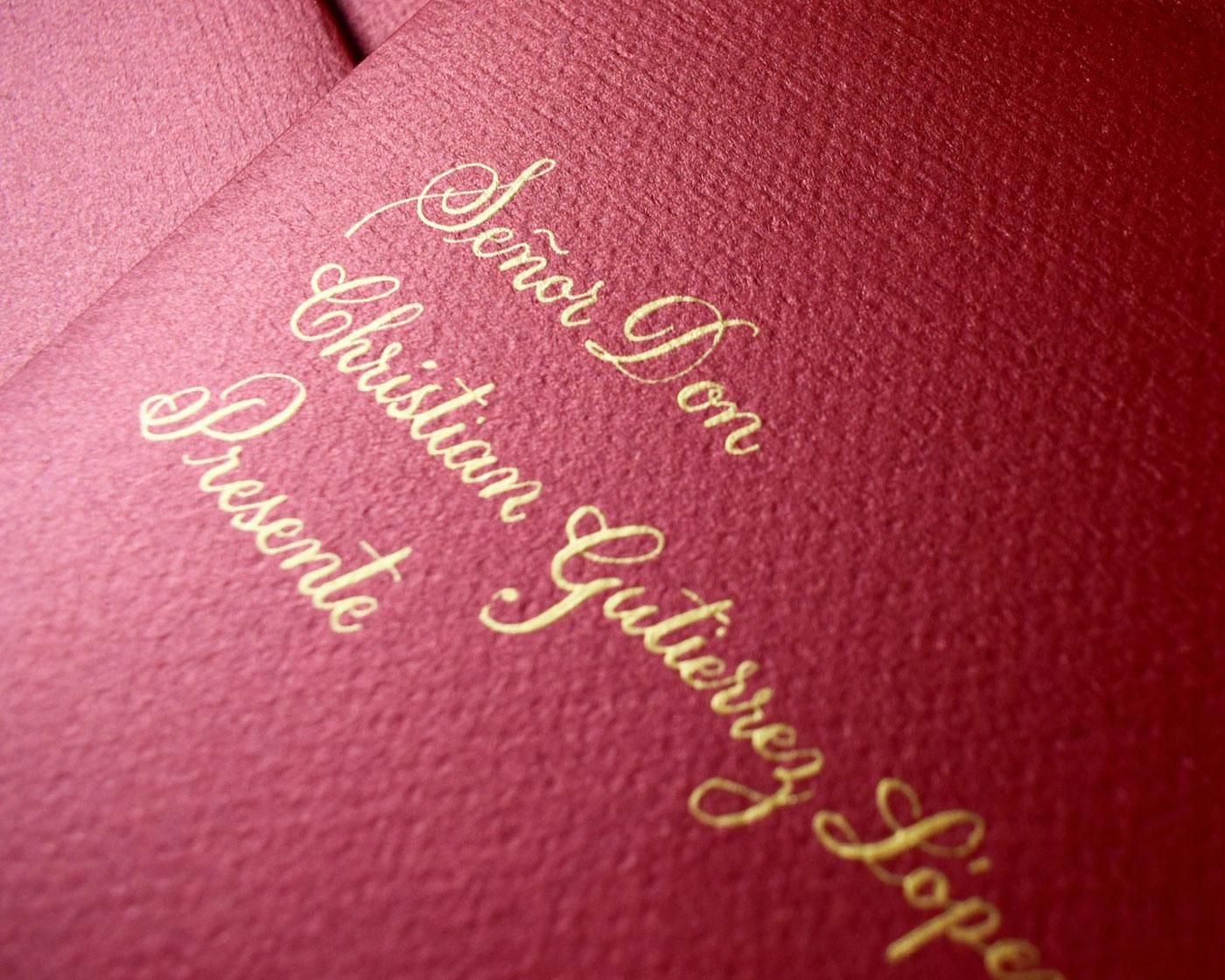 invitacion de boda con caligrafia tradicional