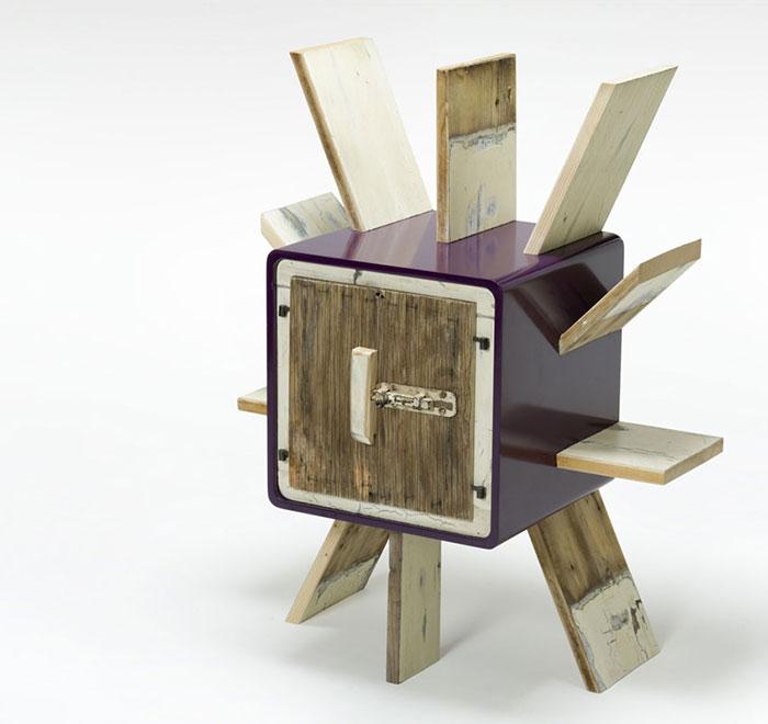 mobile portagiornali laccatura viola lucida legno rigenerato