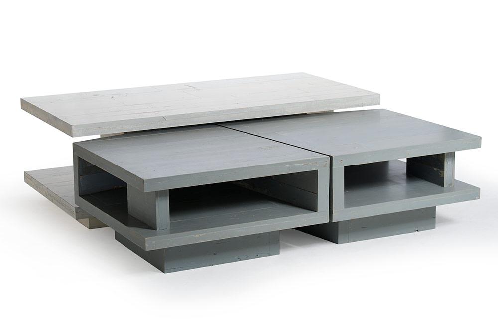 Tavolino da caffè soggiorno in legno grigio design personalizzabile