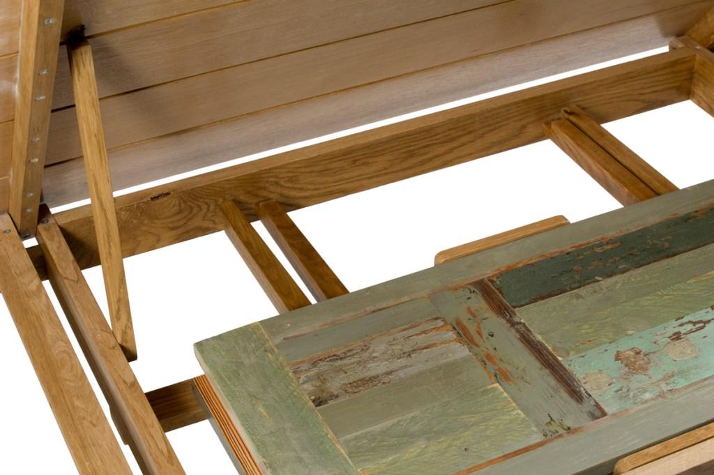 tavolo Clavicembalo rovere e abete aperto con prolunghe