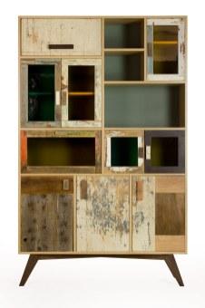 Credenza alta artigianale di design in legno vintage