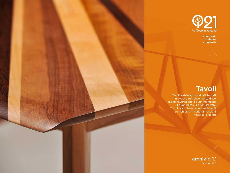 Tavoli artigianali in legno, cristallo, e ferro