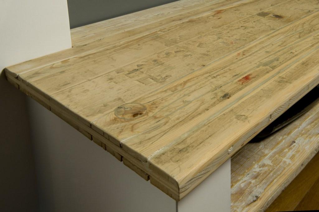 piano penisola cucina in legno vintage di recupero