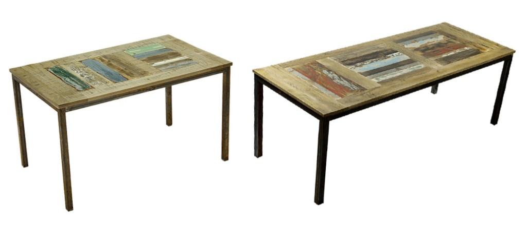tavolo con struttura in ferro grezzo e piano in legni colorati vintage