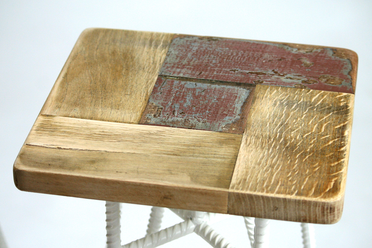 seduta sgabello alto da bar ferro e legno di recupero