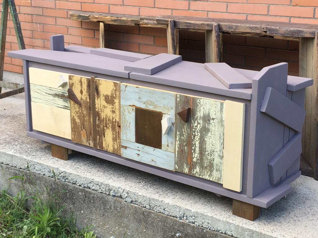 credenza bassa mobile tv in legno violetto