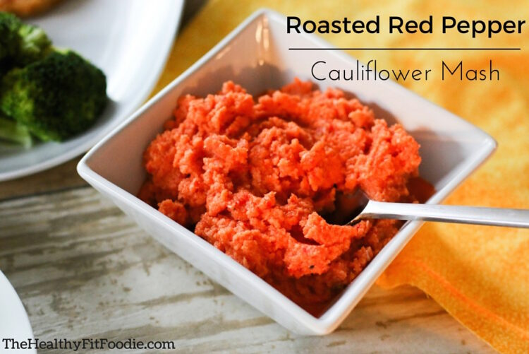 Roasted Red Pepper Cauliflower Mash, healthy cauliflower mashed potatoes, healthy mashed potatoes made with cauliflower