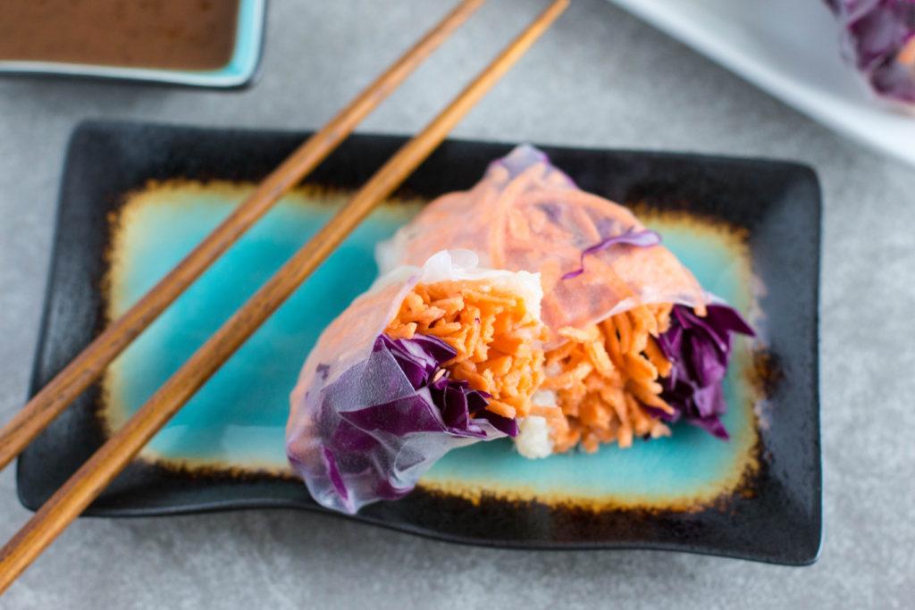 cauliflower rice spring roll, vegan spring rolls, spring rolls without rice