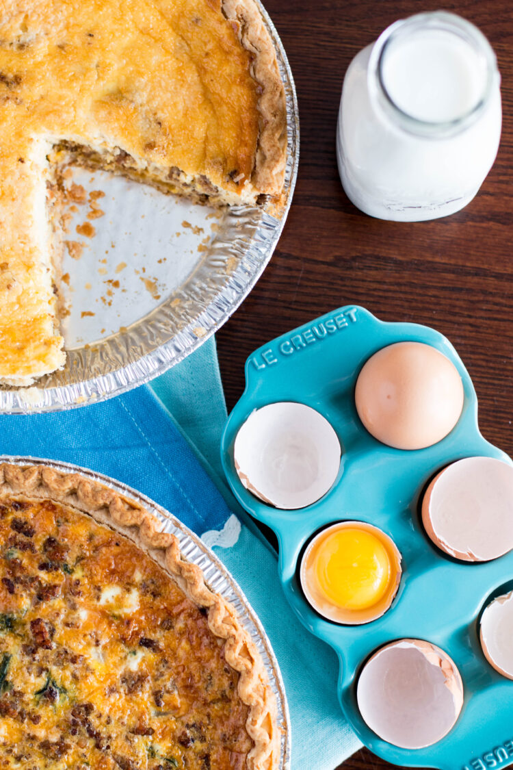 lighter breakfast quiche with eggs and milk on a table
