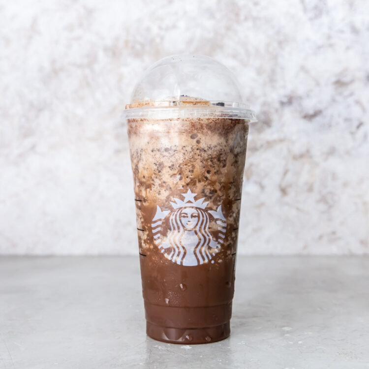 image of a Starbucks Venti Java chip Frappuccino on a grey background