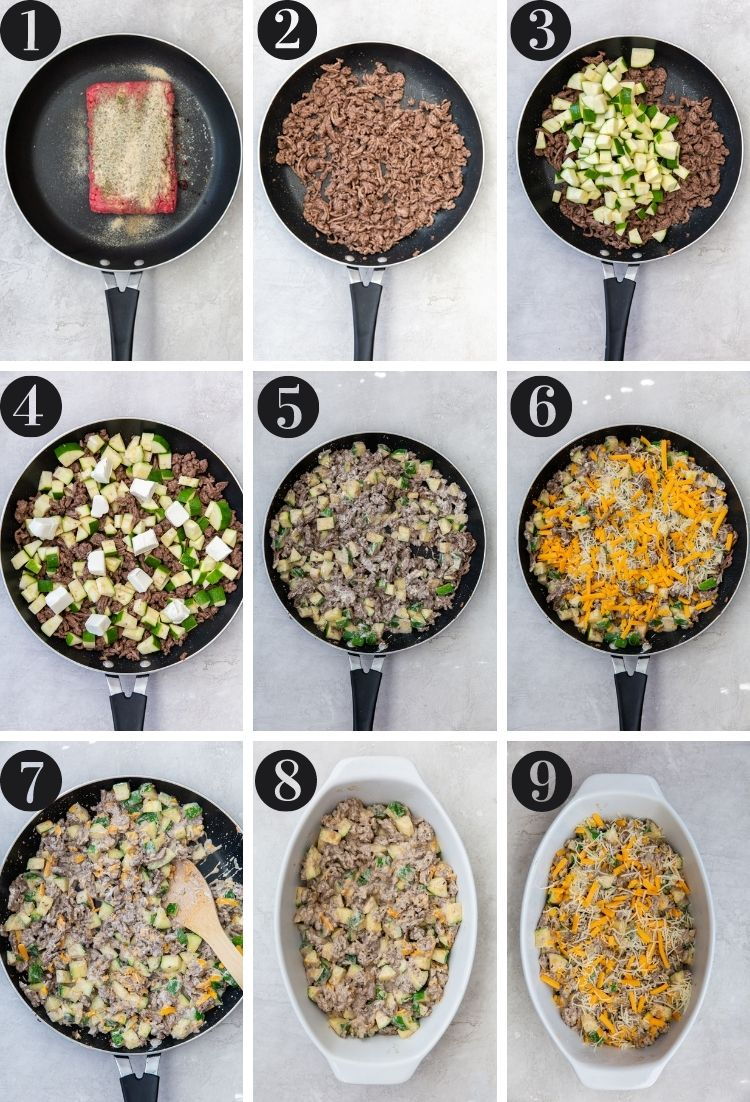 step by step directions for how to make this super easy zucchini casserole with ground beef.