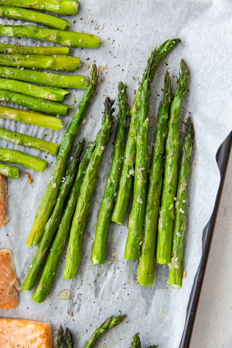 close up image of baked asparagus