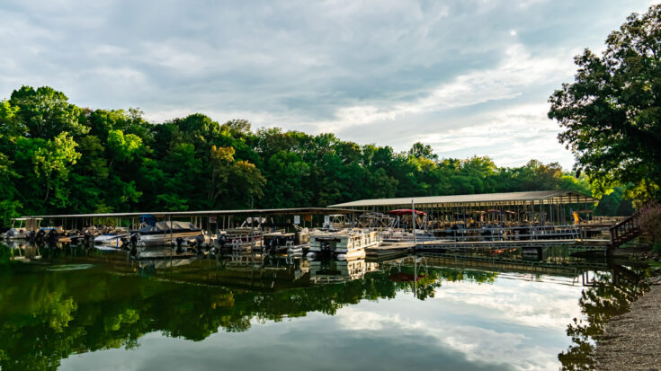 view of boats at the Guist Creek Marina