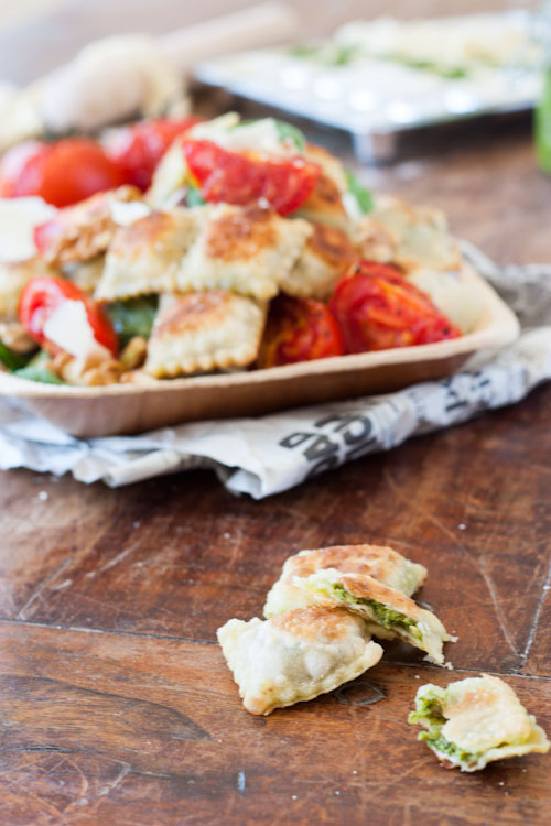 Salade de Ravioles Frites farcies au pesto Noix-Epinard