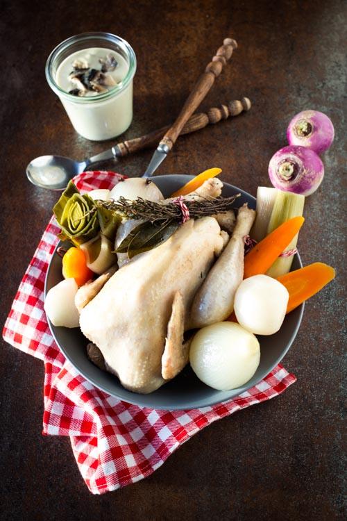 poule au pot sauce supreme