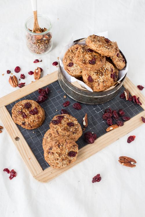 cookies granola noix de pecan cranberries