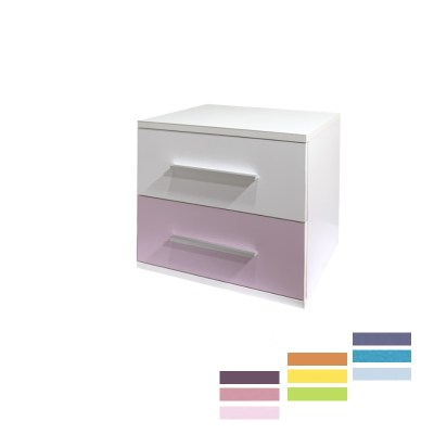 Noptiera Alegria cu 2 sertare, Alb/Color, H40xL50XA40 cm