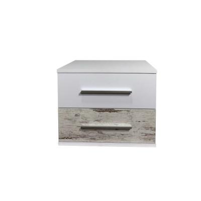 Noptiera Alegria cu 2 sertare, Alb/Pin Antique, H40xL50XA40 cm