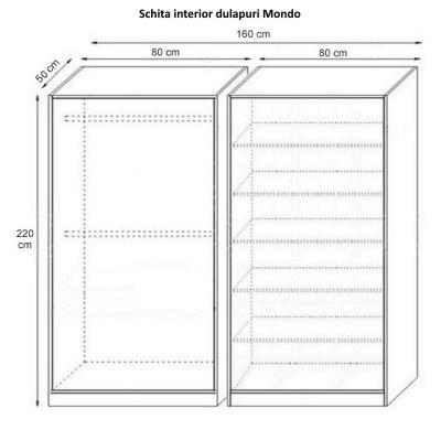 Dulap Mondo 4 Usi, Ferrara, 160x220x50 cm