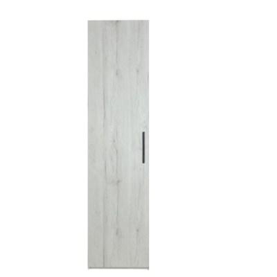 Dulap Mondo 1 usa, 5 polite, Stejar Monaco Alb, 40x50x220 cm