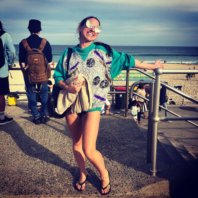Lara Lain post surfing Bondi Beach