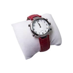 relógio feminino que fala as horas em português com pulseira de couro na cor vermelha