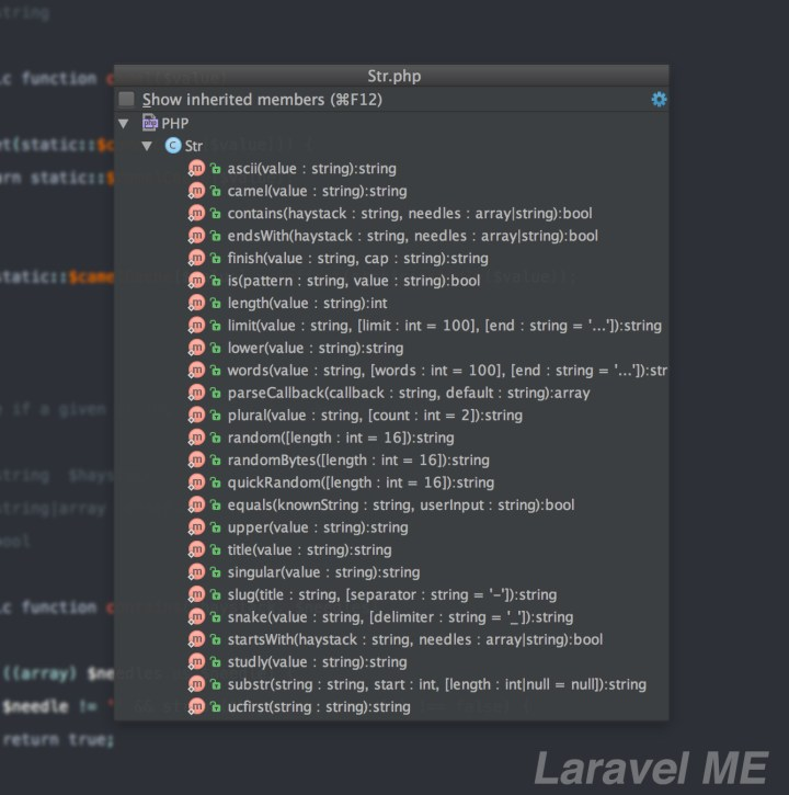 List of all function in Str class in Laravel
