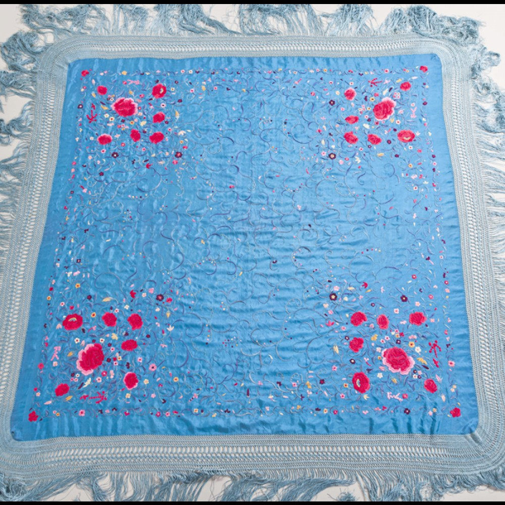 Antique embroidered floral  Piano Shawl