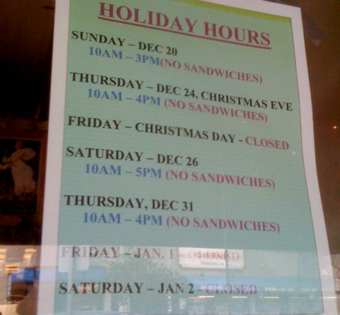 Holiday Sandwich Hours at Larchmont Village Cheese Shop