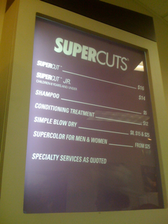 Supercuts Price List