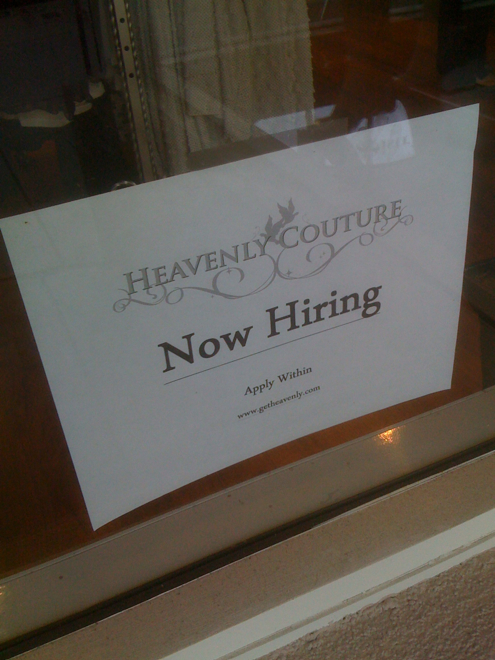 Heavenly Couture Hiring Retail Associates