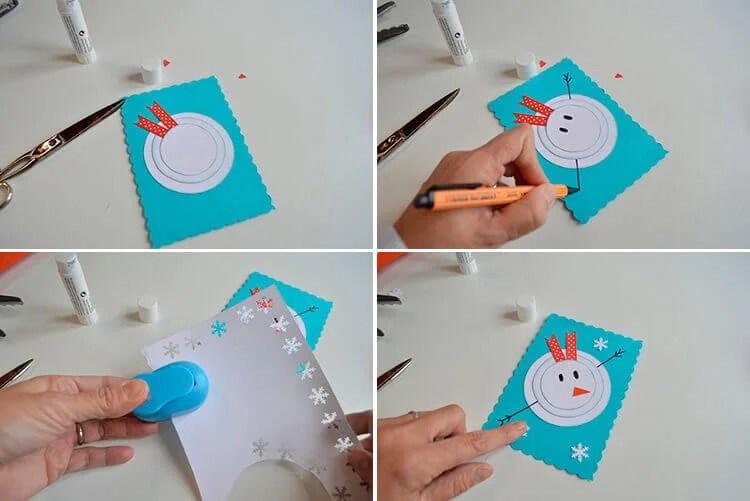 کارت پستال برای سال جدید با دستان خود: صنایع دستی ساده و اصلی در مهد کودک و مدرسه 13 16