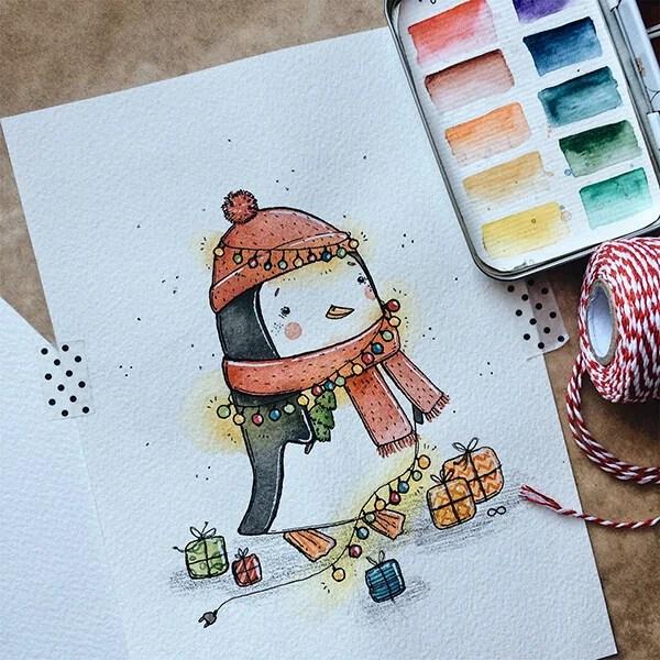 크리스마스 주제용 도면 : 새해를 위해 무엇을 그릴 수 있습니까? Risunki Novodnyuyu Temu 103