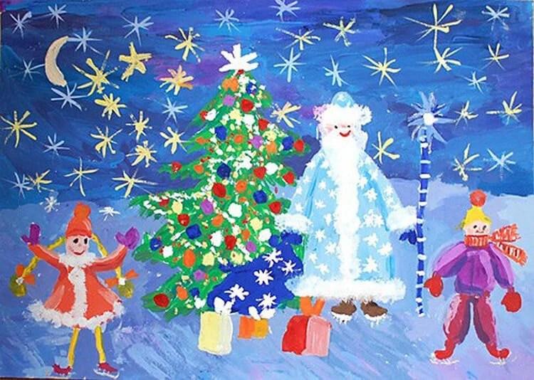 Dessins pour sujets de Noël: Que peut-on tirer sur la nouvelle année Risunki Na Novogodnyuyu Temu 107