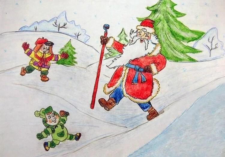 Dessins pour sujets de Noël: Que peut-on tirer sur la nouvelle année Risunki Na Novogodnyuyu Temu 60