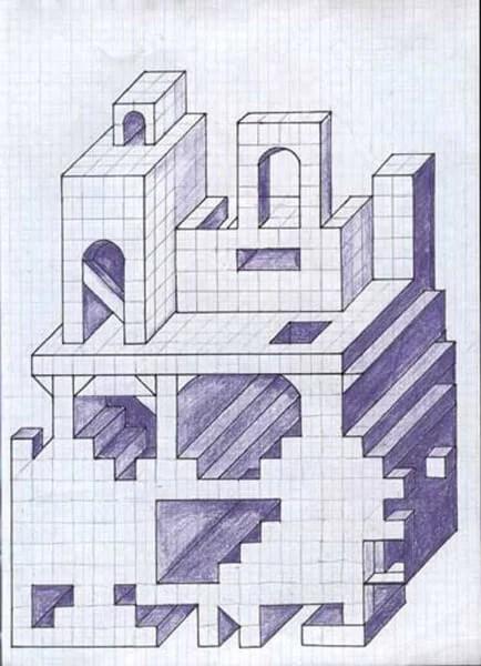 Vackra och enkla ritningar på celler i en anteckningsbok för nybörjare Graficheskie Risunki Po Kletochkam 178