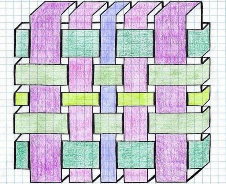 Vackra och enkla ritningar på celler i anteckningsböcker för nybörjare Graficheskie Risunki Po Kletochkam 179