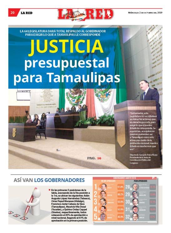 JUSTICIA presupuestal para Tamaulipas