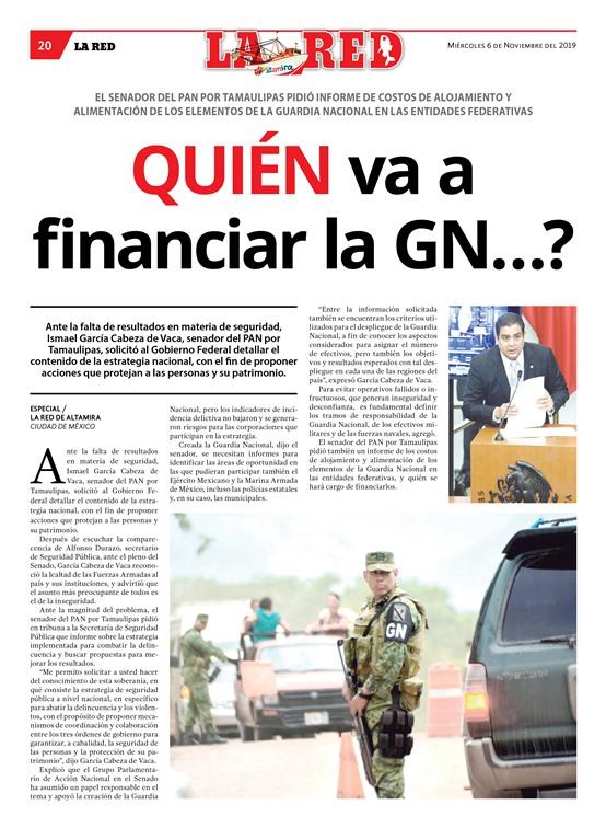 Quién va a financiar la GN…?