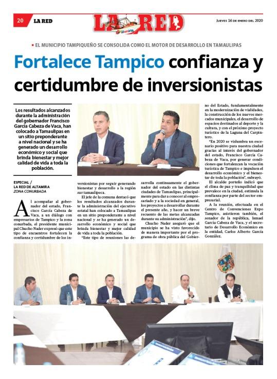 Fortalece Tampico confianza y certidumbre de inversionistas