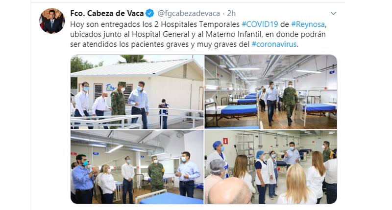 INAUGURA GOBERNADOR DOS HOSPITALES TEMPORALES COVID-19 EN REYNOSA
