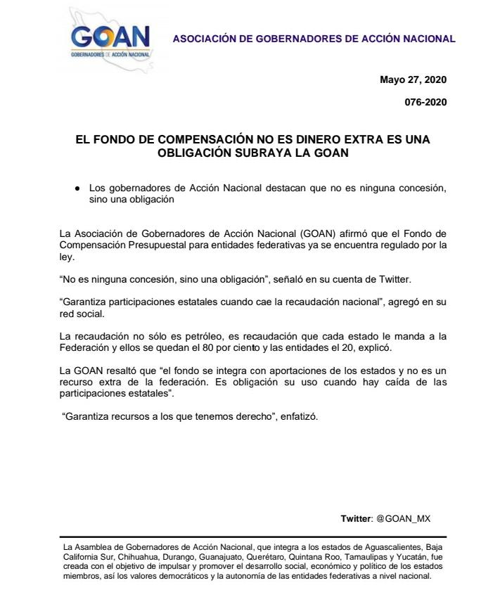 EL FONDO DE COMPENSACIÓN NO ES DINERO EXTRA ES UNA   OBLIGACIÓN SUBRAYA LA GOAN